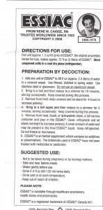 Instructions for making Essiac tea